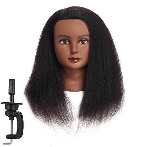 Traininghead 100% Real Hair Mannequin Head Training Head Cosmetology Manikin Practice Head Doll Head With Free Clamp Female (14 inches) (B)