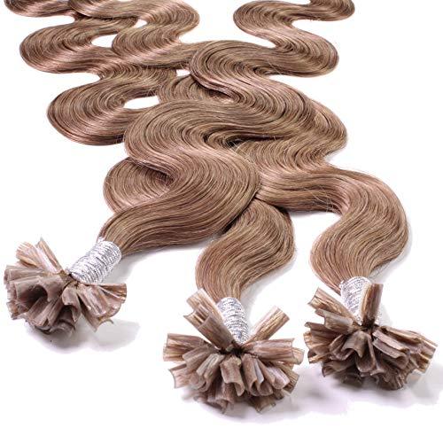 Hair2Heart 100 x 1g extensions cheveux keratine à chaud - 40cm, couleur #10 brun cendres, ondulé