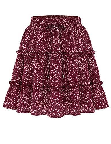 Bbonlinedress Damen Rock Röcke Sommerrock Minirock Kurz Röcke Skirts im Sommer A-Red Dot S