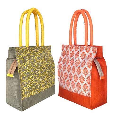 Foonty Daily Use Women Jute Lunch Bags(Combo of 2,Multicolor)