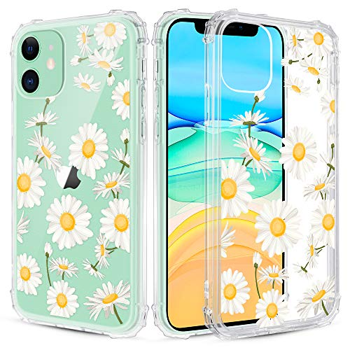 Caka iPhone 11 Case Clear with Design, iPhone 11 Case Daisy Flowers Clear Floral Pattern for Girls Women Girly Slim Soft TPU Transparent Protective Case for iPhone 11 6.1 inches (Daisy)