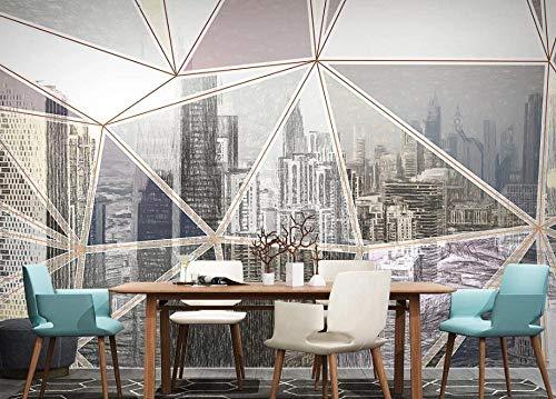 HUATULAI Wandschilderij 3D achtergrond Scandinavisch handgeschilderde stadsinrichting licht geometrische lijnen tv-achtergrond muurverf 430 x 300 cm (b x h).
