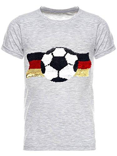 BEZLIT Deutschland Jungen Kinder Wende-Pailletten Fussball WM 2018 Fan T Shirt 22513 Grau Größe 116