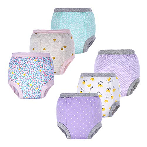 BIG ELEPHANT Baby Girls' Toddler Potty 6 Pack Padded Pure Cotton Pee Training Pants Underwear (Style C, 3T)