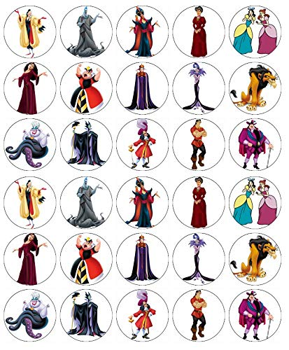 30 decoraciones comestibles de Disney Princess Villains para cupcakes