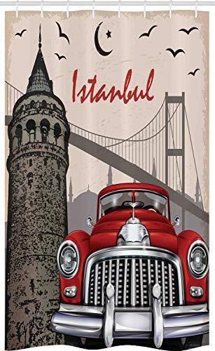 ABAKUHAUS Istanbul Schmaler Duschvorhang, Vintage Stadt-Landschaft, Badezimmer Deko Set aus Stoff mit Haken, 120 x 180 cm, Mehrfarbig
