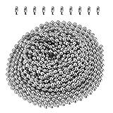 Yardwe Cadena de bolas de acero inoxidable de 2.4 mm Cadena de cordón de metal Extensión de la cadena con cuentas con conector a juego Cadena de cuentas de metal 3M