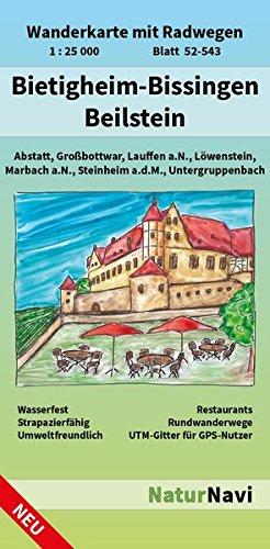 Bietigheim-Bissingen - Beilstein: Wanderkarte mit Radwegen, Blatt 52-543, 1 : 25 000, Abstatt, Großbottwar, Laufen a.N., Löwenstein, Marbach a.N., ... (NaturNavi Wanderkarte mit Radwegen 1:25 000)