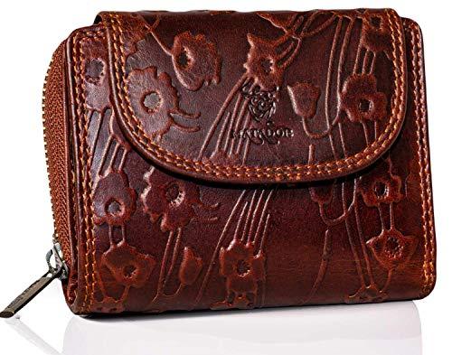 MATADOR Geldbörse für Damen Portemonnaie Echt Leder Geldtasche mit TüV geprüftem RFID NFC Schutz Blocker Vintage Braun Geldbeutel Frauen Blumenmuster 12 x 10 x 4.5 cm