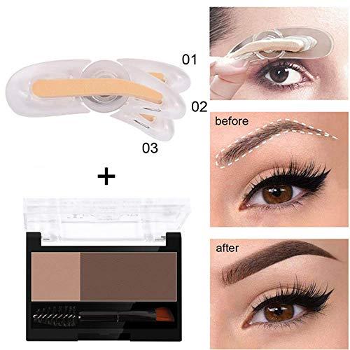 Tampon à sourcils réglable Outils de maquillage pour femmes rotatif avec poudre à sourcils Durable professionnel poudre à sourcils fine (No.1 poudre à sourcils + joint)