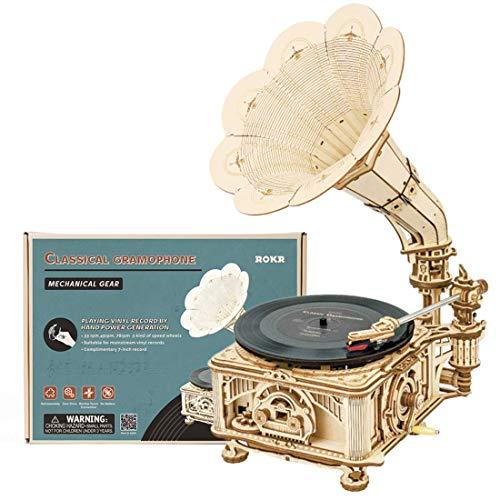 Kit de madera 3D modelo de rompecabezas negro goma gramófono DIY mecánica caja de música corte láser para niños adultos 424 piezas