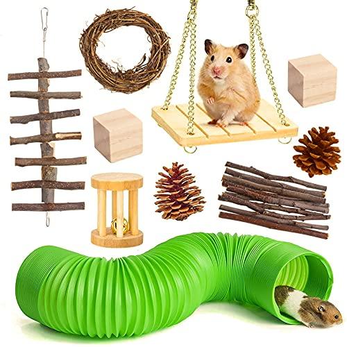 Yoommd Juego de 10 juguetes para hámsters, para escalar y jugar, de madera natural, juguete para morder para ratones y hámsteres enanos