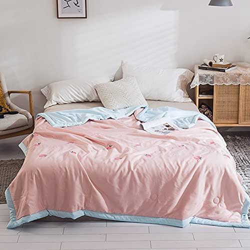 YUTRD ZCJUX. Tencel Stickerei Sommer kleine frische Bettdecke Quilt Quilts dünne Tröster Deckdecken (Color : Pink, Size : 150x200cm(900g))