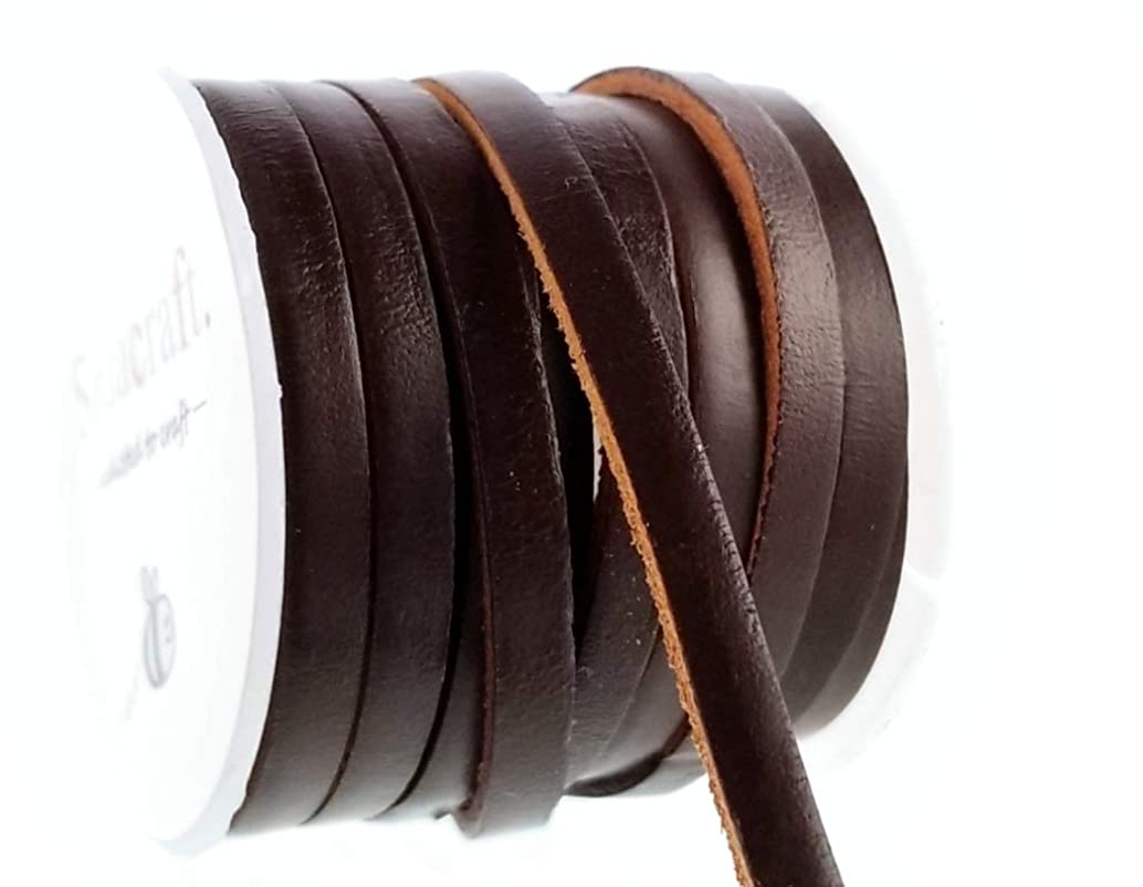 Dark Brown Thick Leather Cord Lace Spool for Jewelry Making, Crafts (5 x 2) 5mm