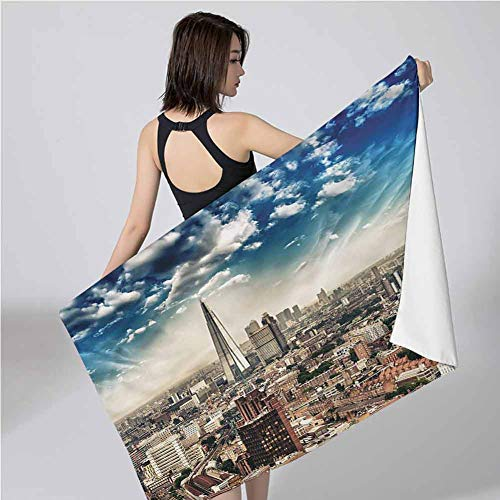 Wanderlust Bath Towels Aerial View City Skyline Quick Drying and Highly Absorbent Quick-Dry, Luxurious, Soft for Pool, Spa, and Gym, 79'x71'
