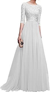 ccd274a7d1ae BYWX Women Chiffon Pleated Crew Neck Half Sleeve Evening Prom Party Maxi Dress  Gown