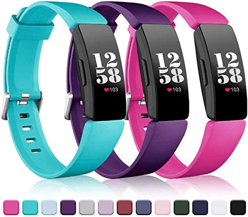 Wepro Bands Compatible with Fitbit Inspire HR & Ace 2,Replacement Wristband Sports Strap Band for Fitbit Ace 2 & Inspire Tracker,Large,Rose Pink,Teal,Plum