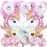 Suministros de Decoraciones de Fiesta de Unicornio, MOOKLIN Decoración de Cumpleaños Boda Lindo Conjunto, 4pcs Unicornio (Enorme Rosa y Redondo), 20pcs Blanco y Rosa, 5pcs Globos Confeti - 29pcs