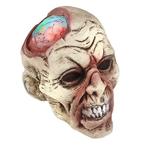 Amakando Tête de Mort illuminée Crâne de Zombie animé 22 cm Ornement crâne Horreur poupée décorative Halloween décoration d'halloween tête Mort Vivant Cerveau décoration de fête effrayante
