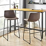 """Barton Set of 2 Myrick 30"""" Bar Stools with Back and Footrest, Rustic Brown"""