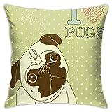 SHUJIA Funda de cojín con diseño de perro pequeño con cabeza inclinada y adorable Exprion I Love Pugs, 45,7 x 45,7 cm