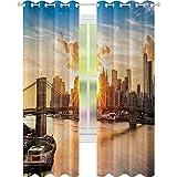 Cortinas opacas para niños, paisaje urbano de Brooklyn Bridge y Manhattan Hudson River Center of Culture Foto, 2 paneles de ancho 52 x largo 72 cortinas opacas para dormitorio, multicolor