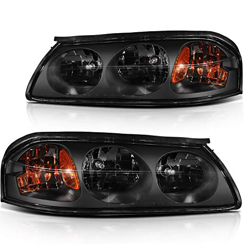 ECCPP Headlight Assembly Direct Replacement For Chevrolet Impala 2000-2005 Headlamps Black Housing Amber Reflector Clear Lens Left+Right Side