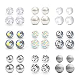 MODRSA 14G Replacement Balls Belly Button Rings Ball 5mm 8mm Externally Threaded Surgical Steel Plastic Pearl for Nipplering Industrial Barbell Tongue Ring Horseshoe Barbell Body Piercing Jewelry
