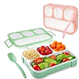 GETKO WITH DEVICE Leakproof 4 Compartment Plastic Kids Childrens Lunch Box with Removable Divided...
