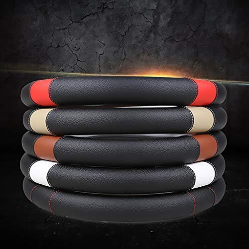 WYKDL YYDGQ Auto Lenkradbezug Hochwertige Ultra Komfortable Einfache Installation aus weichem Leder am Lenkrad des Autos Universal Größe 37-38cm (Schwarz)-classicblack