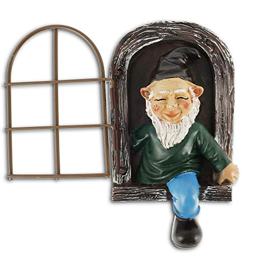 Garden Gnome Statue with Window, Realistic Elf Out The Door Tree Hugger Durable Resin Figurines Garden Peeker Yard Art for Indoor Outdoor Home Yard Decoration (11.5X8CM)