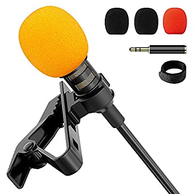 Upgraded Lavalier Lapel Microphone, Omnidirectional Condenser Mic for Apple iPhone iPad Mac Android Smartphones, Youtube, Interview, Studio, Video, Recording,Noise Cancelling Mic