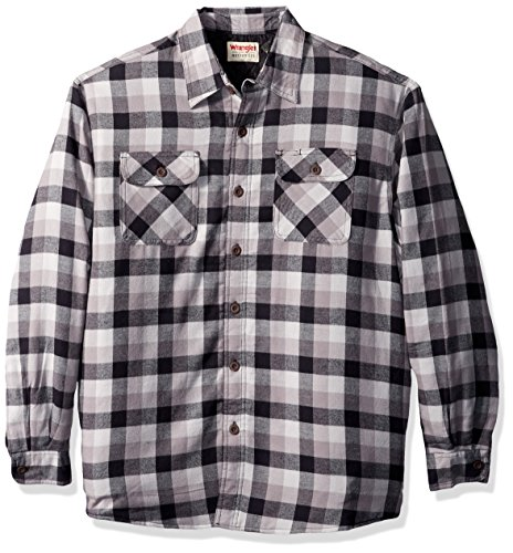 Wrangler Authentics Men's Long Sleeve Quilted Lined Flannel Shirt Jacket, Gray Tri Color Buffalo, Medium