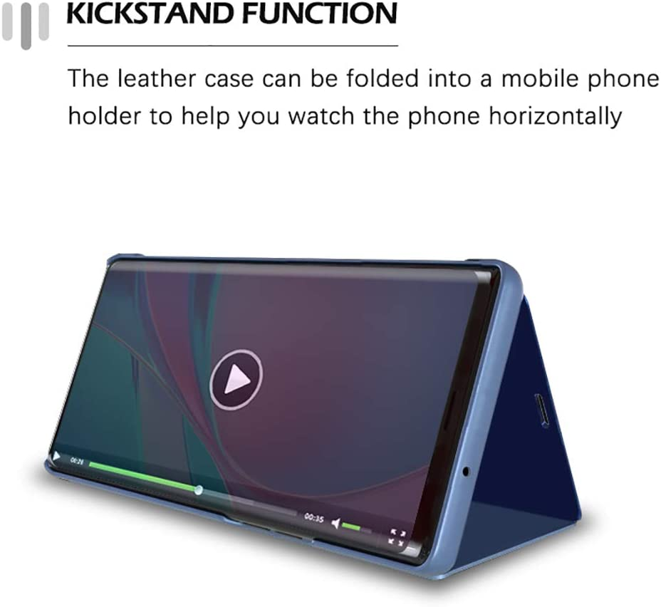 Foldable Kickstand Phone Shell TANYO Smart View Flip Cover for Huawei P smart 2021 Black Premium Leather Case with Stylish Mirror Clear Display Window