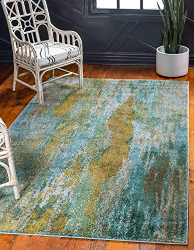Unique Loom Jardin Collection Vibrant Abstract Turquoise Area Rug (6' x 9')
