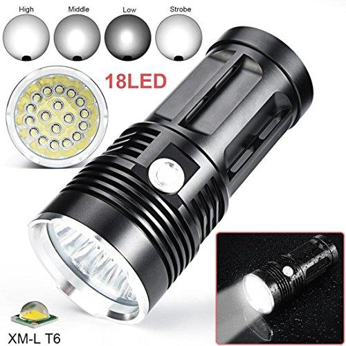 LED Taschenlampe 45000 Lumens aufladbar, 3 Modi Zoombar Taschenlampe mit 18x XM-L T6 LED Jagd Taschenlampe By huichang - Mit variablem Fokus und wasserdichter Leistung - Sky Wolf Eye