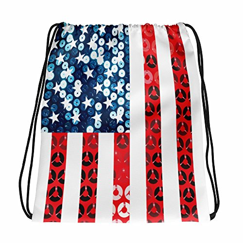 Gossip Rag Vertical American Flag Drawstring Bag Backpack Purse White