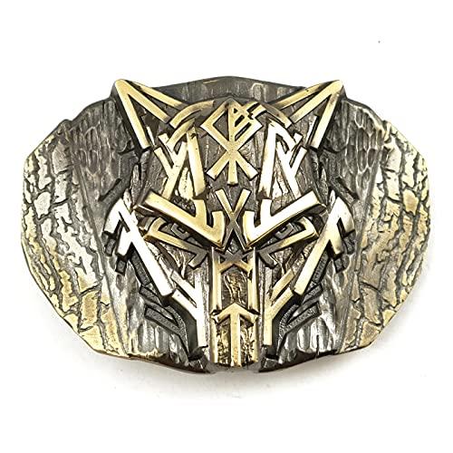 Runic Wolf Belt buckle, Scandinavian Old Norse Celtic wild animal werewolf Viking Fenrir mythology solid brass belt buckle for casual belt