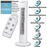 60 Watt Turmventilator mit Fernbedienung und Timer von 0,5 Std. bis 7,5 Std | 31 Zoll (79cm) Hohe Säule Der Sleep-Modus eignet sich um auch nachts mit einer kühlen Brise einzuschlafen. Zusätzlich kann eingestellt werden, dass der Ventilator nach eine...