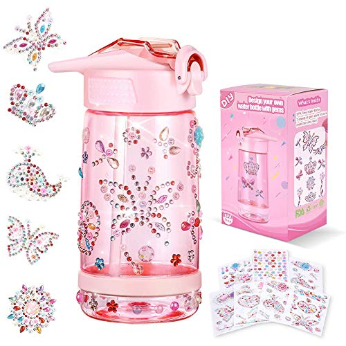 Decorate & Personalize Your Own Water Bottle with Tons of Gem Stickers,Fun DIY Art and Craft Kit for Children,Reusable BPA Free 17 oz Kids Water Bottles, Cute Gift for Girls (Pink)