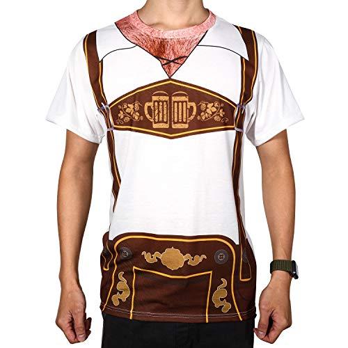 Oktoberfest Herren Behaart Brust Design Deutsche Kostüme Lederhosen T-Shirt Outfits (S)