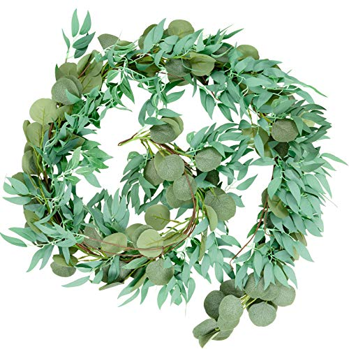 Whaline 6.5ft Artificial Eucalyptus and 5.6ft Willow Leaves Garland, Faux Silver Dollar Eucalyptus Leaves Garland and Willow Vines Twigs Leaves Garland for Indoor Outdoor Decoration (Gray Green)