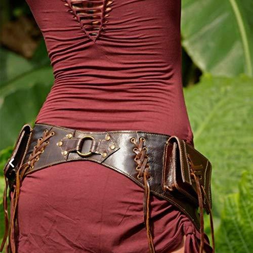 LYY Riñonera Medieval, Riñonera Steampunk, Riñonera De Cuero, Bolsos para Teléfono, Armadura Pesada, Hecha A Mano, Retro, para Mujer