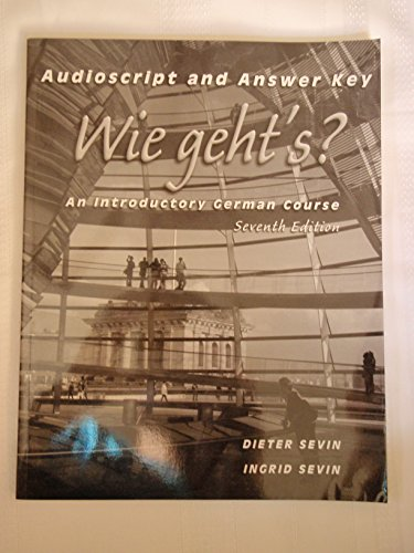 Workbook/Lab Manual Answer Key for Wie geht's?: An Introductory German Course, 7th