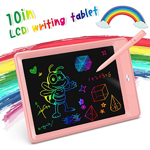 KOKODI LCD Writing Tablet, 10 Inch Toddler Doodle Board Drawing Tablet, Erasable Reusable Electronic Drawing Pads, Educational and Learning Toy for 2-6 Years Old Boy and Girls (Pink)