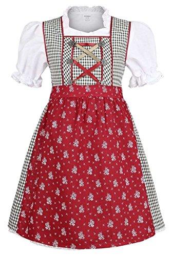 COALA Mädchen Kinderdirndl   3-teiliges Set   mit Dirndl-Bluse und Dirndl-Schürze   grün rot, grün/rot, 74/80