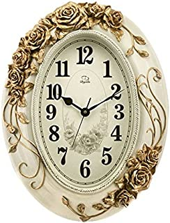 EDSAF Living Room Wall Clock Resin Oval European Style Classic Pocket Watch Electronic Clock (Color : #2)