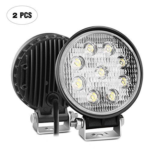 Nilight 2PCS 27W Round Flood LED Light Bar Driving Lamp Waterproof Jeep Off