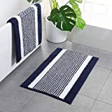 Navy Blue Chenille Bath Mat - Striped Bath Rugs Non Slip Washable 32 X 20 Inch Super Shaggy Bath Floor Mats for Bathroom Floor Mats