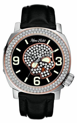 Marc Ecko E13524G1 - Reloj analógico de cuarzo con correa de piel negra - sumergible a 50 metros